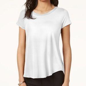 Alfani ivory stain trim high low tee shirt size XS